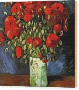Vase With Red Poppies Wood Print