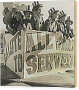 Veteran's Day Parade University Of Arizona Tucson Arizona Black And White Toned Wood Print