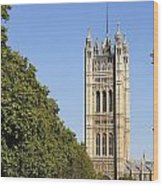 Victoria Tower And The Palace Of Westminster In London England Wood Print