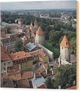 View From Above Of Old Town Tallinn Estonia Wood Print by Cliff Wassmann