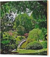 View Of A Japanese Garden Wood Print