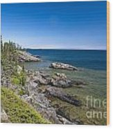 View Of Rock Harbor And Lake Superior Isle Royale National Park Wood Print