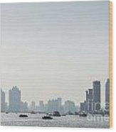 View Of Shanghai River In China Wood Print