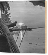 View Of Sunrise From Boat Wood Print