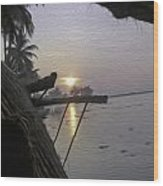 View Of Sunrise From The Window Of A Houseboat Wood Print