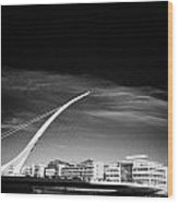 View Of The Samuel Beckett Bridge Over The River Liffey Dublin Republic Of Ireland Wood Print