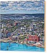 View Of The St. John's Newfoundland From Signal Hill Wood Print