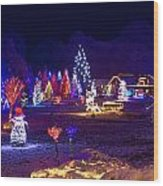 Village In Christmas Lights Panoramic View Wood Print