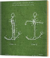 Vintage Anchor Patent Drawing From 1902 Wood Print