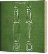 Vintage Beer Bottle Patent Drawing From 1934 - Green Wood Print