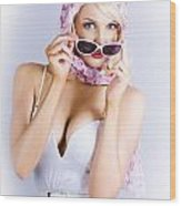 Vintage Blond Beauty In Pinup Fashion Accessories Wood Print