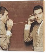Vintage Business People Talking On Can Telephone Wood Print