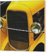 Vintage Car Yellow Detail Wood Print