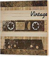 Vintage Cassette Wood Print by Sara Ponte