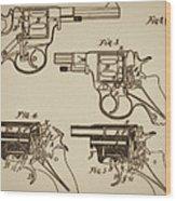 Vintage Colt Revolver Drawing  Wood Print
