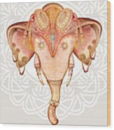 Vintage Elephant Illustration.hand Draw Wood Print