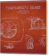 Vintage Firefighter Helmet Patent Drawing From 1932 Wood Print