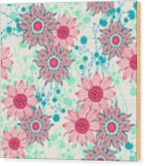 Vintage Flower Pattern Print For Wood Print