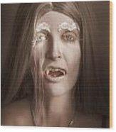 Vintage Halloween Portrait. Gothic Vampire Girl Wood Print