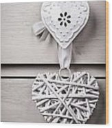 Vintage Hearts Wood Print by Jane Rix