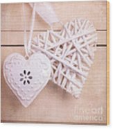 Vintage Hearts With Texture Wood Print by Jane Rix