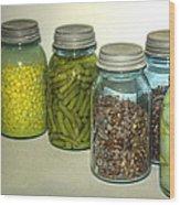Vintage Kitchen Glass Jar Canning Wood Print