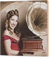 Vintage Pin-up Girl Listening To Record Player Wood Print