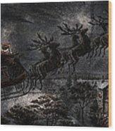 Vintage Santa Stormy Midnight Ride Reindeer Sleigh Wood Print