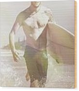 Vintage Surfer Running With His Board In Surf Wood Print