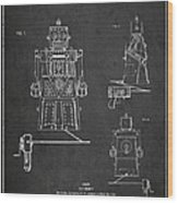 Vintage Toy Robot Patent Drawing From 1955 Wood Print