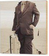 Vintage Traveling Business Man Wood Print