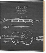 Vintage Violin Patent Drawing From 1928 Wood Print