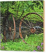 Vintage Wagon Wheel Gate Wood Print