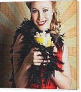 Vintage Woman Eating Popcorn At Movie Premiere Wood Print