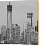 1 W T  C  And Lower Manhatten In Black And White Wood Print