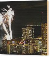 Waikiki Fireworks Wood Print