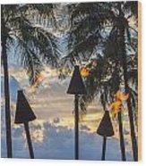 Waikiki Sunset Torches Wood Print