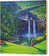 Waimea Falls  Wood Print by Joseph   Ruff