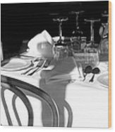 Waiting For Diners Bw Wood Print