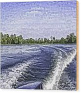 Wake From The Wash Of An Outboard Motor Wood Print