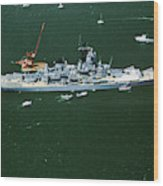 War Ship In New York Harbor, New York Wood Print