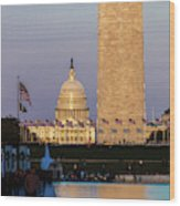 Washington D.c. - Us Flags With Cropped Wood Print