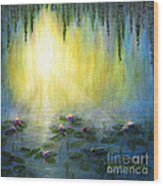 Water Lilies At Sunrise Wood Print