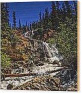 Waterfall In Jasper 1 Wood Print