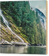 Waterfall Jervis Inlet Wood Print