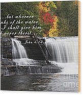 Waterfall With Scripture Wood Print