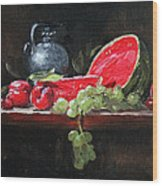 Watermelon And Plums Wood Print