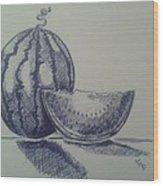 Watermelon Wood Print by Emese Varga