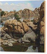 Watson Lake Reflections Wood Print