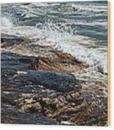 Waves Break On The Rocks. Wood Print by Alexandr  Malyshev